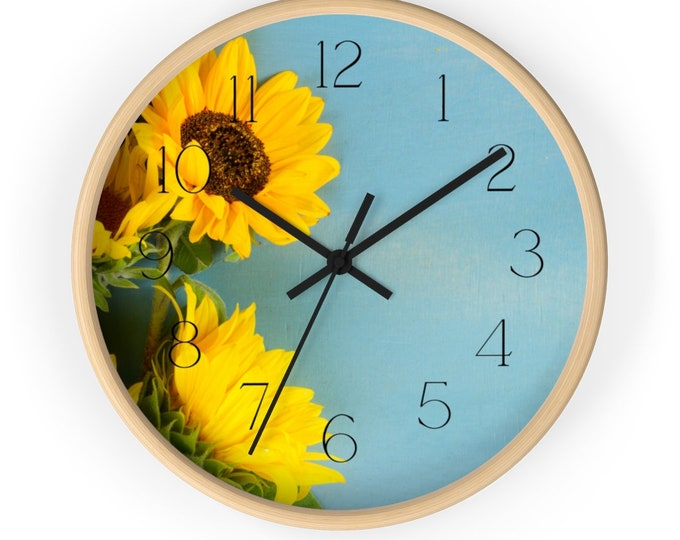 Sky Blue Field With A Pair of Sunflowers Floral Wall Clock