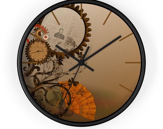 Steampunk Wall Clock - Bronze Gears, Orange Fan