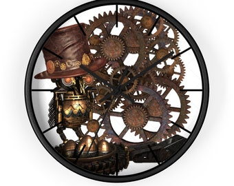 Mechanical Steampunk Owl With Leather Top Hat Analog Wall clock