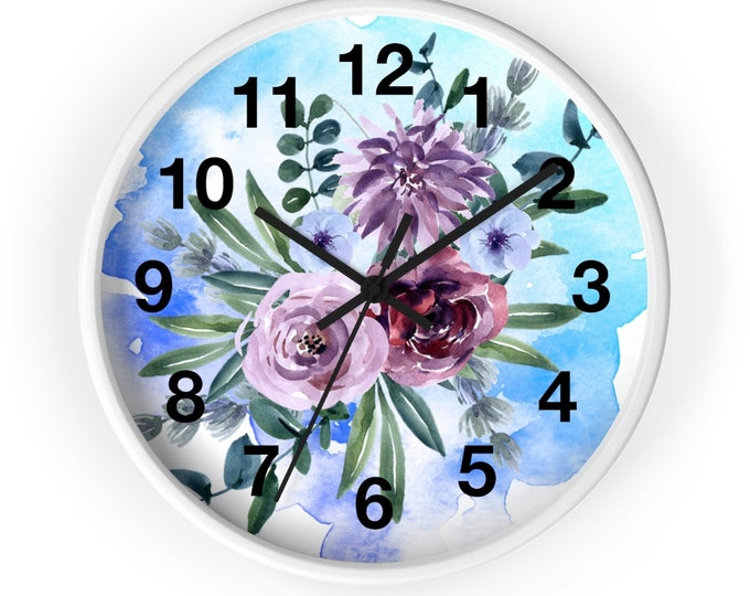 Peonies on Sky Blue Watercolor Floral Analog Wall Clock
