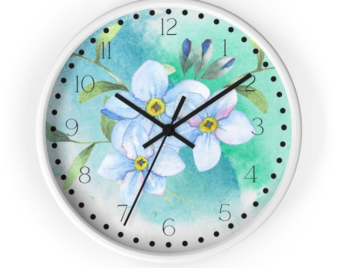 Sky Blue Periwinkle Watercolor Analog Clock