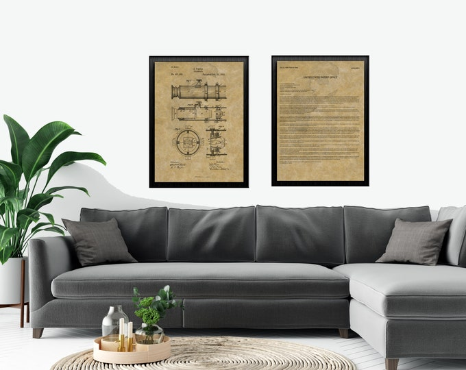 TELESCOPE PATENT Print COMBO Set | Vintage |  Black and Brown | Digital Print |  Office and Den Art