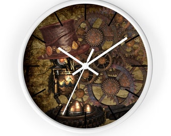 OWL AND GEARS Steampunk Wall Clock - Steampunk Hat, Mechanical Owl, Bronze Gears