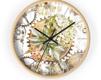 FLORAL STEAMPUNK CLOCK - Pink Flower Clock, Steampunk Wall Clock, Feminine Steampunk
