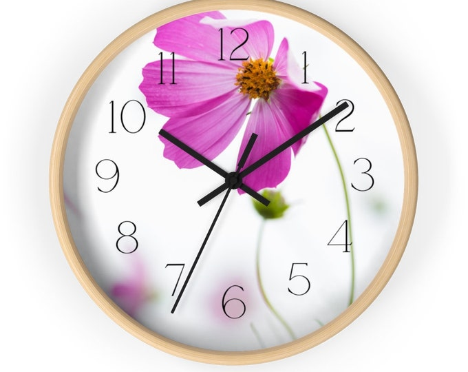 Pretty Pink Cosmo Flower Analog Wall Clock