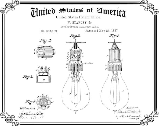 Westinghouse LIGHT BULB PATENT, Vintage Poster, Antique Patent Print, Historical Art