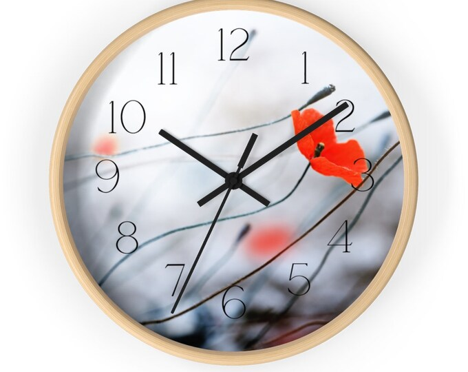 Poppy Blown in The Spring Storm Wall Clock