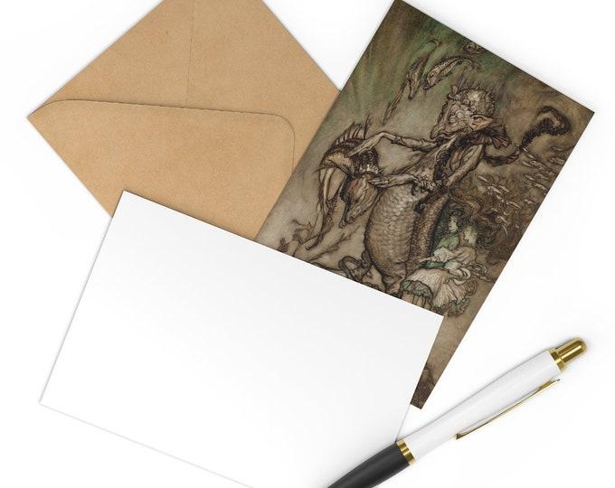 Postcards Set of 7 Arthur Rackham Underwater Creatures Print Craft Envelopes
