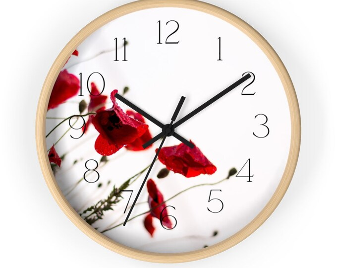 Deep Red Poppies Minimalist Wall Clock