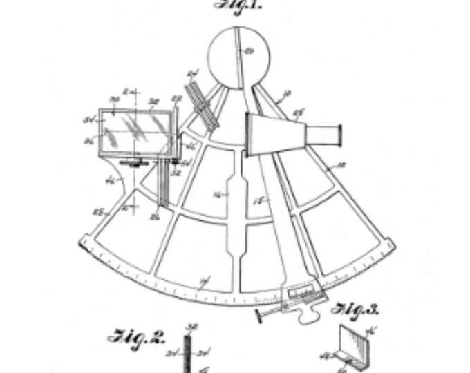 DIGITAL DOWNLOAD - Sextant Patent Print With Patent Description 3 Sizes To Print