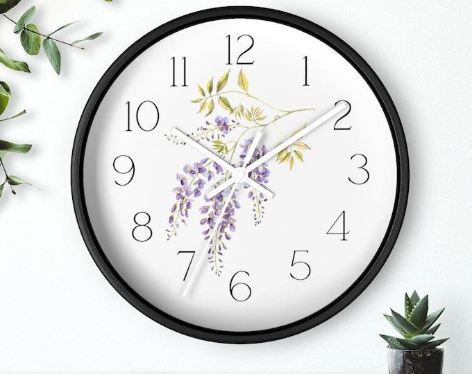 Wisteria Floral Wall Clock