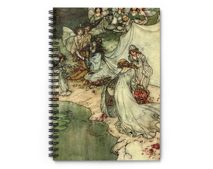NYMPHS BY WATER - Spiral Notebook, Rule Lined, Bullet Journal, Arthur Rackham Print