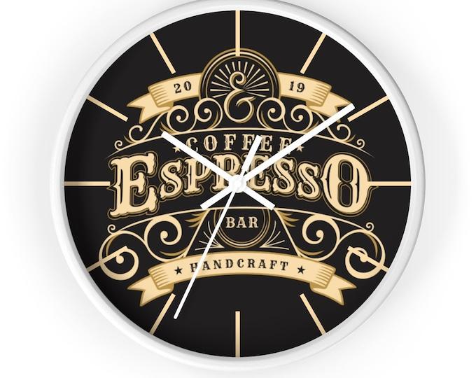 ESPRESSO COFFEE CLOCK - Analog Clock, Barista Decor, Wall Clock, Home Decor, Barista Gift, Coffee Lover Gift, Art Deco Clock