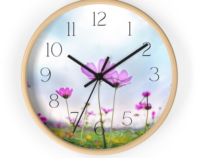 Purple Comos Flowers In A Field, Floral Wall Clock
