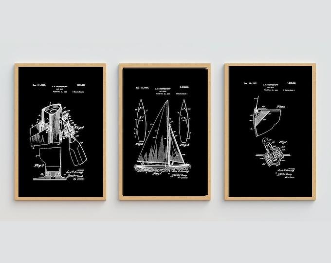 SAILBOAT PATENT ART | 3 combo Set | Digital Download | Black and White Print Art | Vintage Patent Print | Vintage Print | Nautical Art