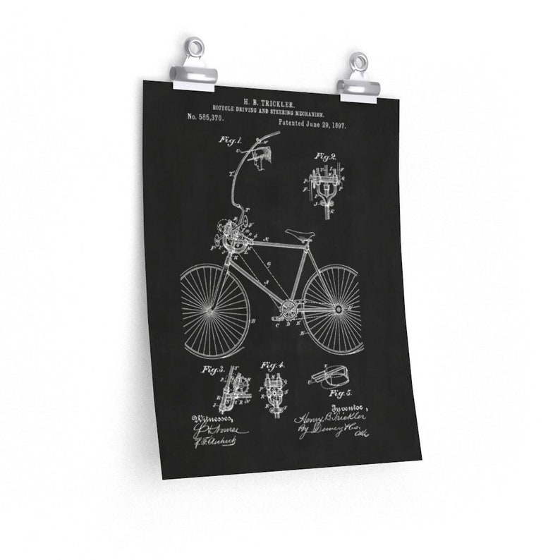 BICYCLE STEERING MECHANISM Patent Print  Black and White image 0