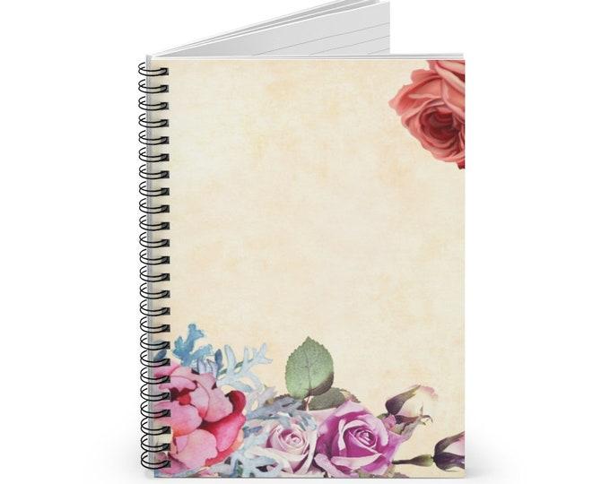 Vintage Spiral Notebook - Ruled Line, Flower on a Parchment Background