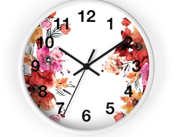 Pink and Orange Flower Analog Wall Clock