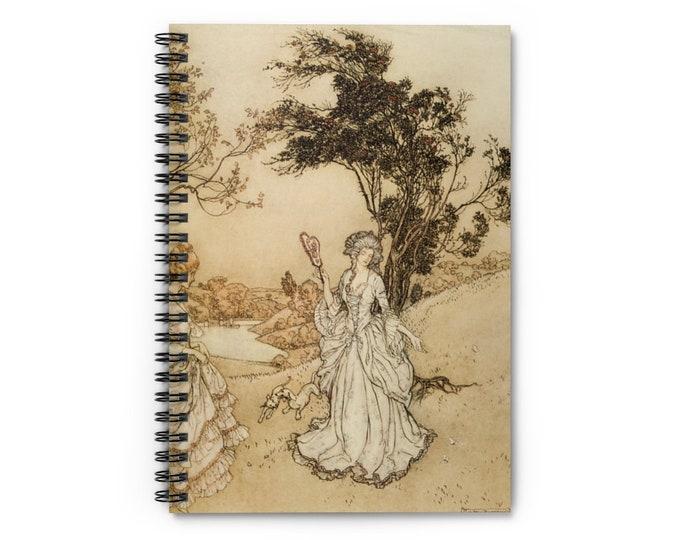 Spiral Notebook With LInes Arthur Rackham Print of Victorian Woman