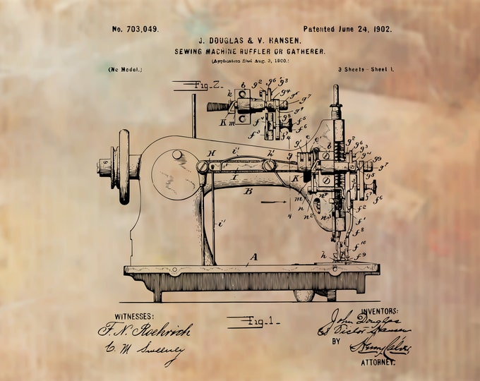 Vintage SEWING MACHINE PRINT | 8x11 | 3 Design Choices | Craft Room Art | Sewing Room Decor | Vintage Patent Print | Vintage Print