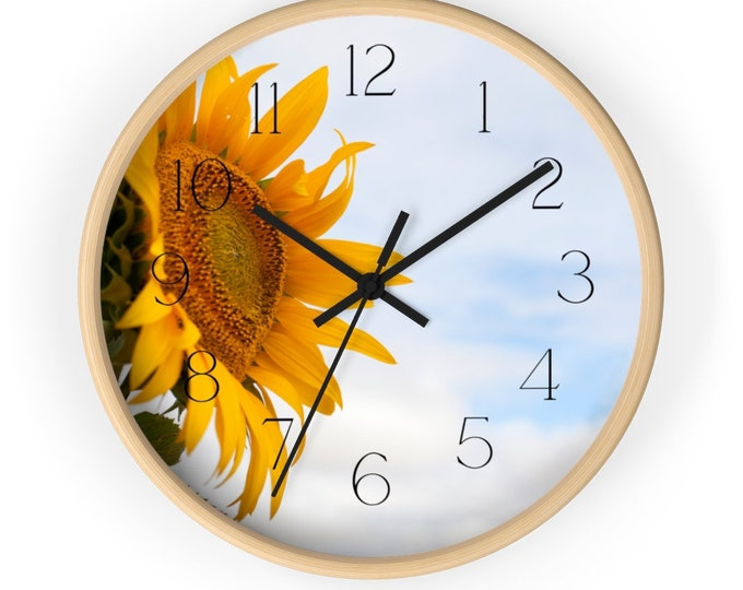 Bright Pretty Sunflower Against the Blue Sky Floral Wall Clock