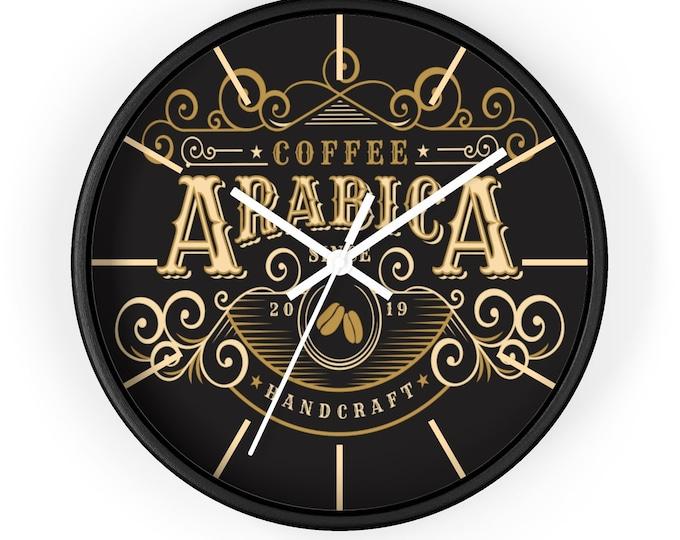 ARABICA COFFEE SHOP Wall Clock - Vintage, Art Deco, Steampunk, Classic Coffee Decor, Barista Gift, Coffee Lover Gift, Kitchen Decor