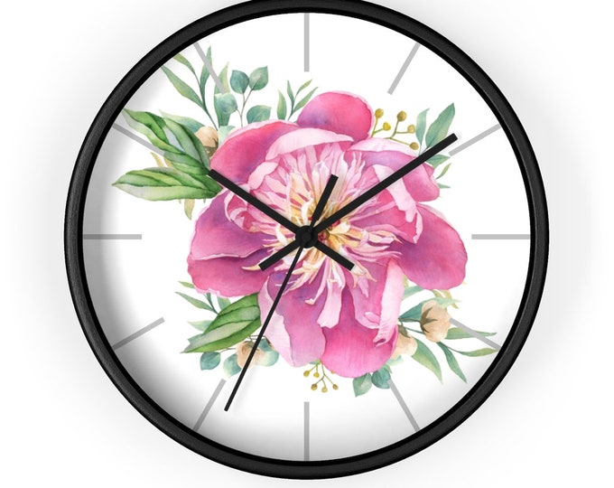 Wall Clock - Pink Flower, Battery Operated, Analog, Craft Room Decor