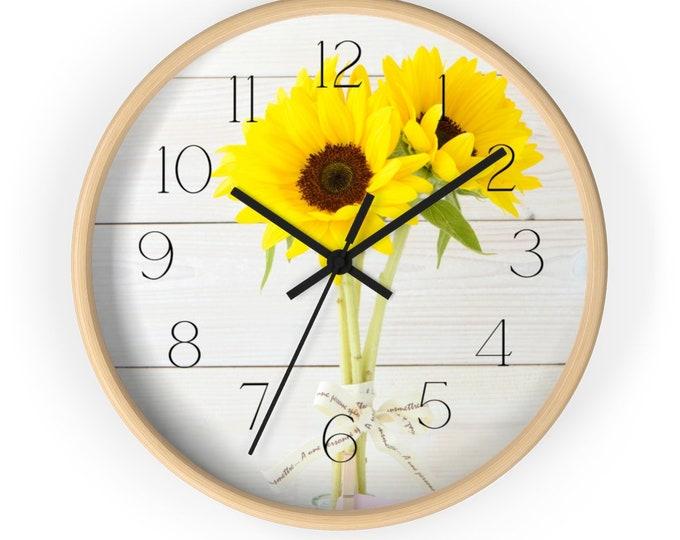 Sunflower Spring Bouquet on Beadboard Rustic Wall Clock
