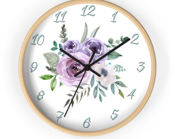 Round Wall Clock Purple and Pink Roses With leaves