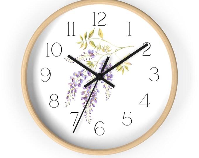 Single Spring Wisteria Branch Minimalist Flower Wall Clock