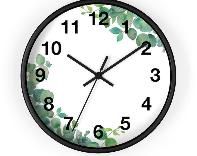 Eucalyptus Leaf Watercolor Analog Wall Clock