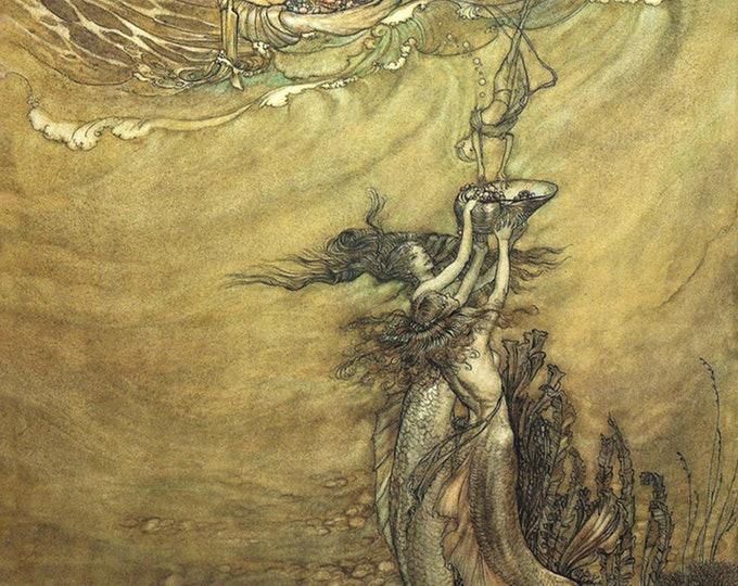 Arthur Rackham Print Mermaids Poster