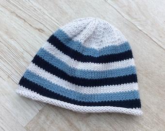 Bonnet bébé, bonnet pure laine, Mérinos (100%), bonnet jersey, tricoté à la  main, bonnet à rayures, bonnet laine a562e003533