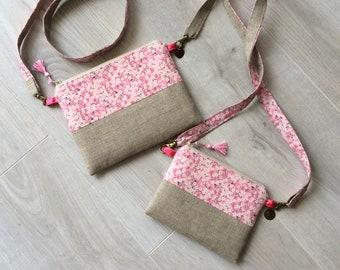 2a6510be54 pochette, sacoche, petit sac en lin et Liberty, femme, petite fille,  bandoulière, ensemble mère fille, besace, sac tissu, pochette portable