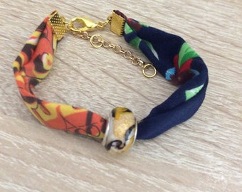 Fabric and Murano Glass Bead Bracelet