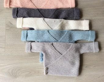 Baby birth bra, 100% merino pure wool heart cover, wool cross bra, layette, baby vest, hand knitted