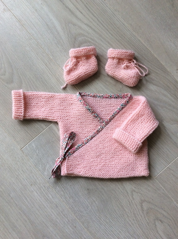 pure wool baby slippers hand-knitted 100/% Merino baby bra Baby set liberty girl birth outfit baby outfit