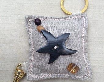 Key ring, bag jewel, fabric key ring, linen, beads