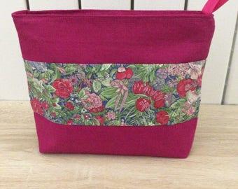 Pouch, linen and liberty, kit bag, makeup case