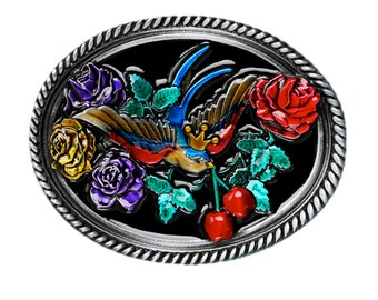 Swallows and Cherries Belt Buckle