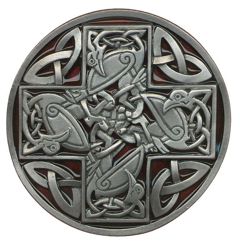 Celtic Cross Belt Buckle Red