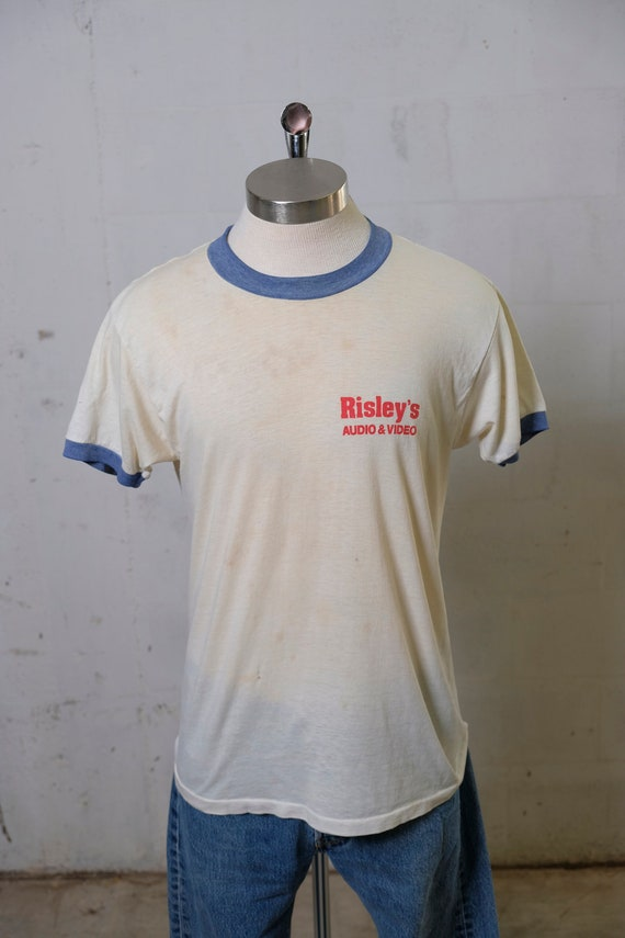 Vintage 80's Risley's Audio & Video Ringer T Shirt Rare! Soft! Thin! S
