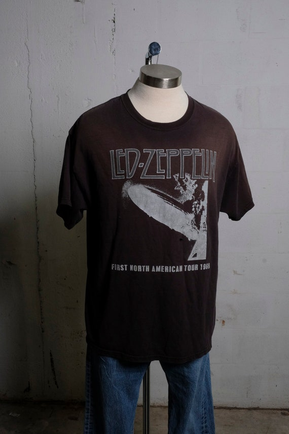 Vintage 90's Led Zeppelin 1969 First North American Tour T Shirt Rock Band Concert Rare Thrashed L