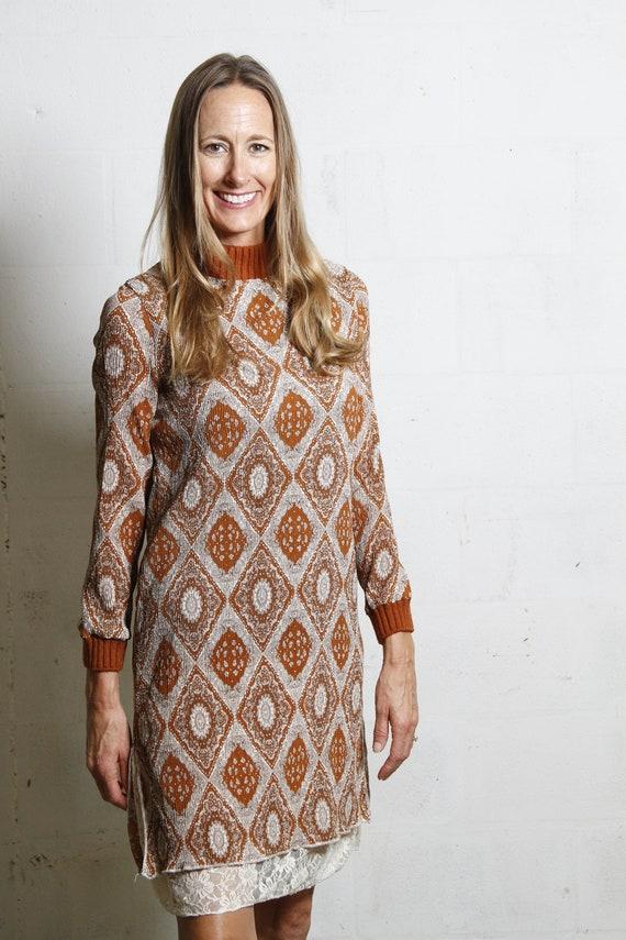 Vintage 60's Mod Boho Mock Neck Polyester & Lace Long Sleeve Tunic Dress