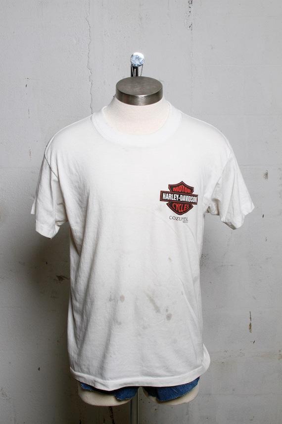 Vintage 90's Harley Davidson Motorcycles Dealer T Shirt Cozumel Mexico  L
