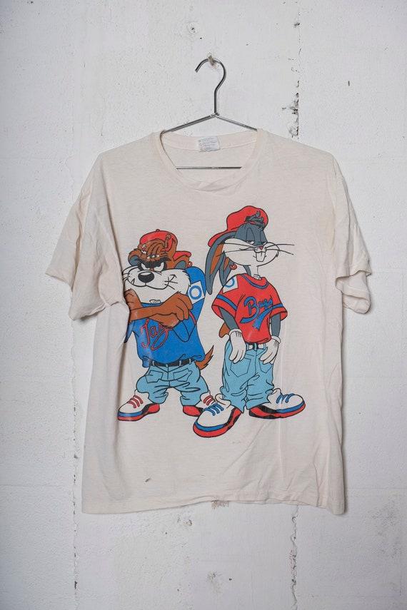 Vintage Rare 90's Bugs Bunny & Taz Kriss Kross Style Hip Hop Looney Toons Cartoon T Shirt Soft! Thrashed! L