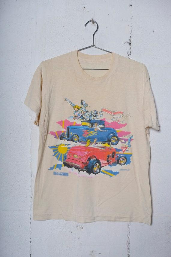 Vintage 1985 Ford Hotrod HighBoy Heaven Auto T Shirt Rare! Thrashed! Soft! Tread Marks M