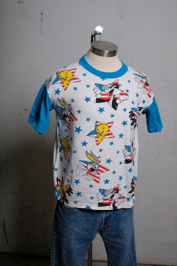 Vintage 90's Looney Toons All Over Print T Shirt Rare! S