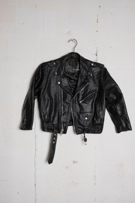 Vintage 80's Kids Size Black Leather Biker Jacket Bona Drag S
