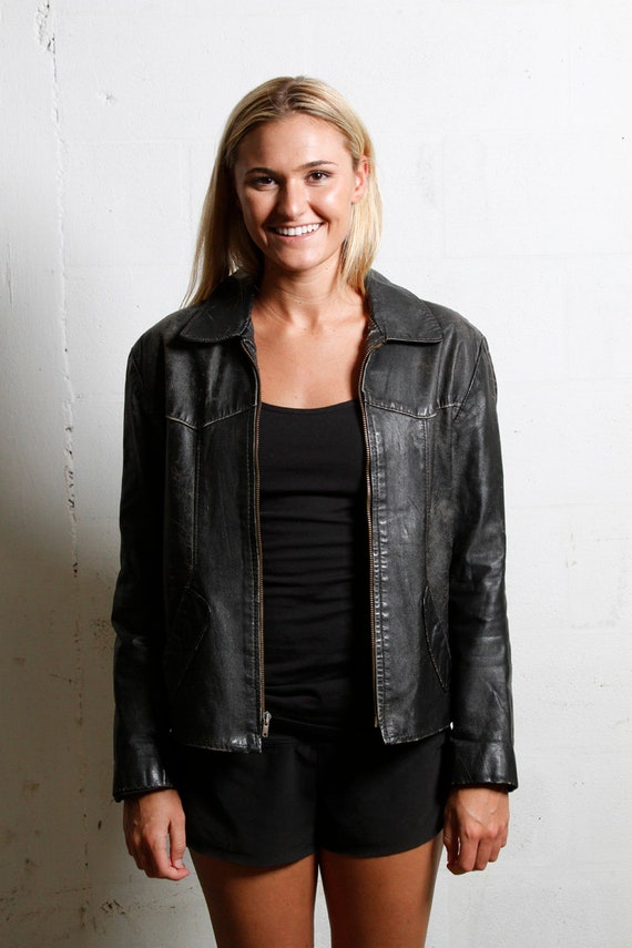 Vintage 70's Women's Black Leather Moto Jacket S